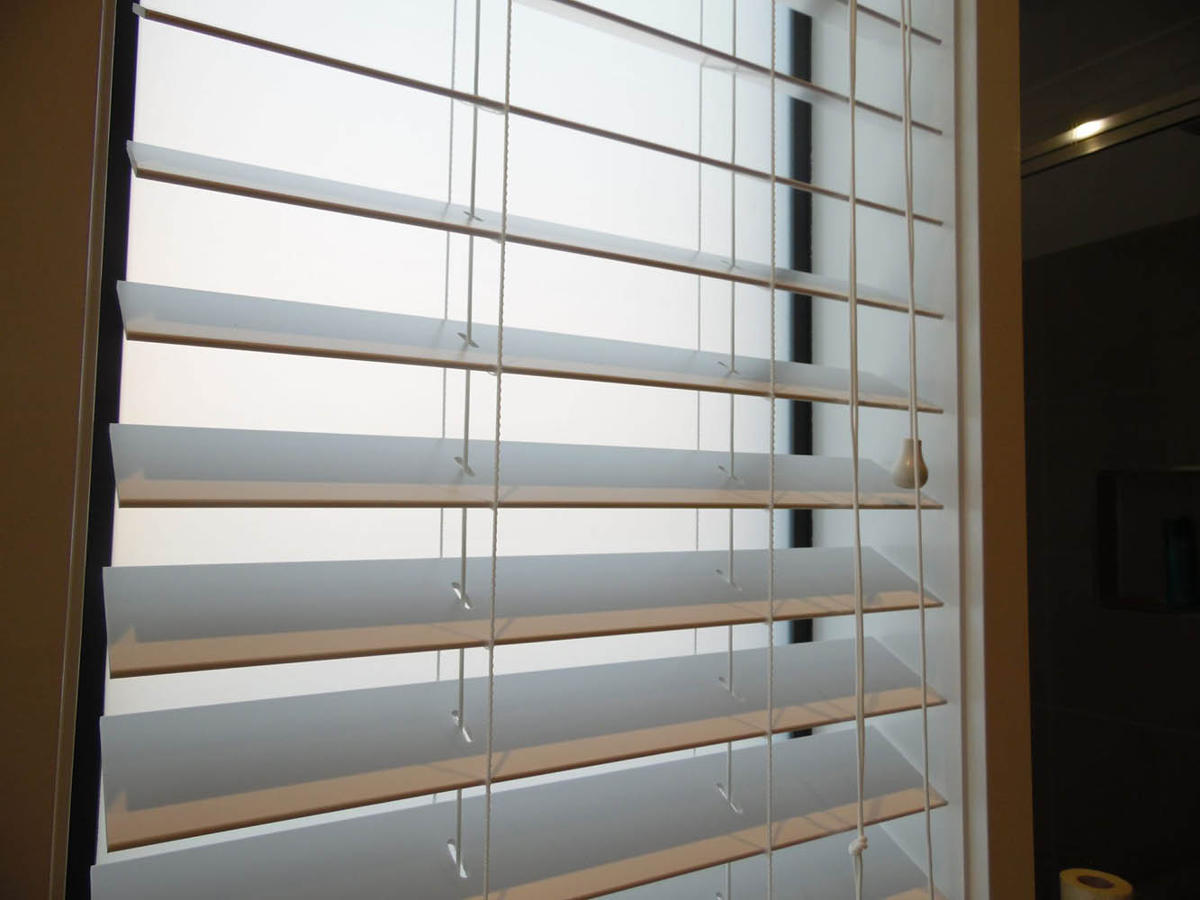 Close Up of White Bathroom Venetian Blinds Project in Kalkallo