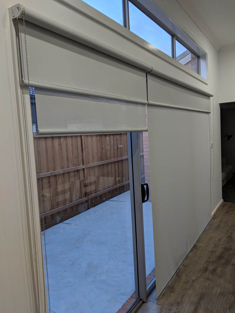 Custom Made Double Roller Blinds on Sliding Door