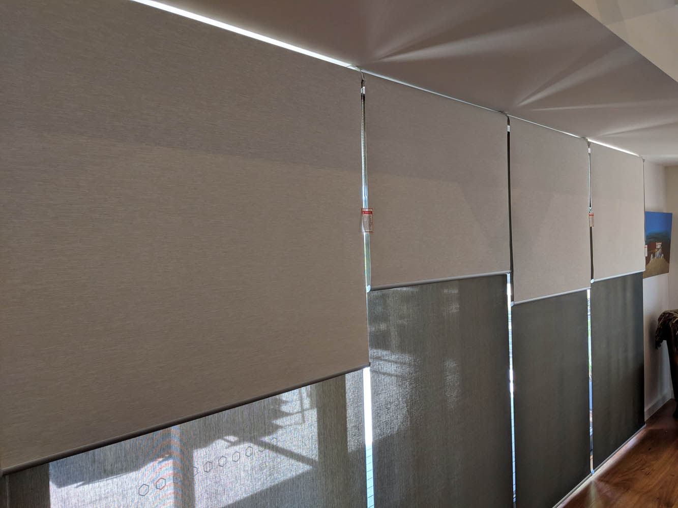 Large Sliding Door Side by Side Roller Blinds
