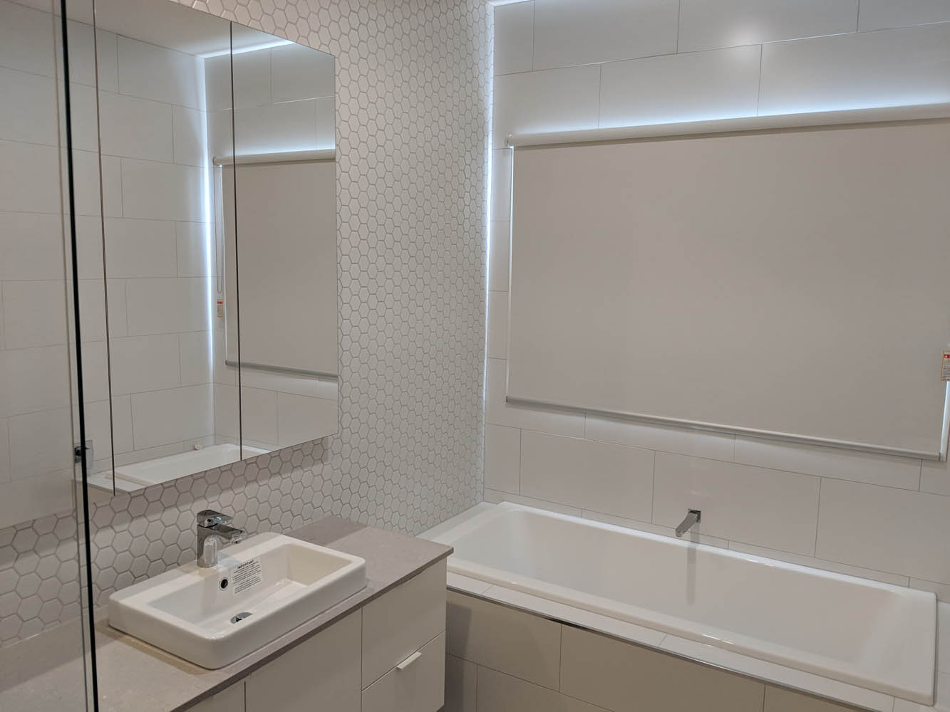 White Bathroom Roller Blinds
