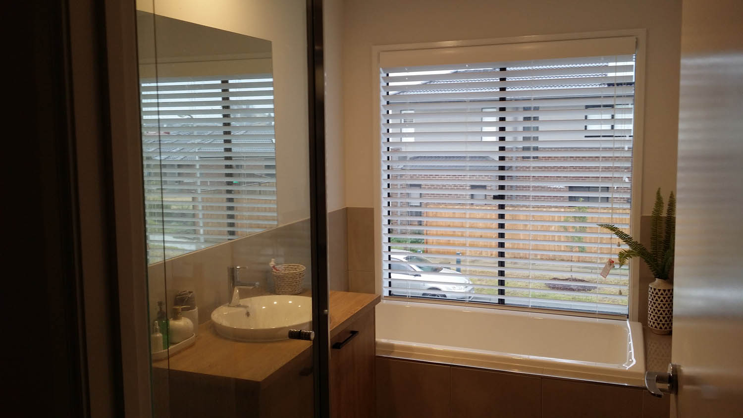 White Venetian Bathroom Blinds