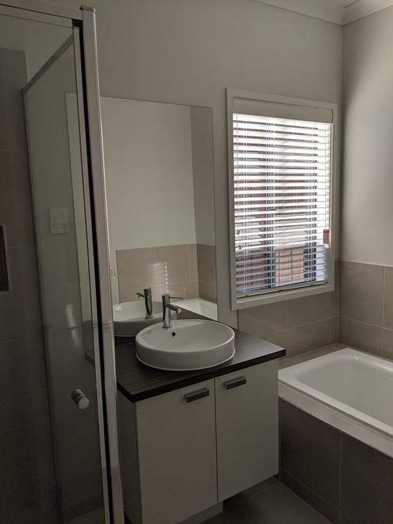 Bathroom White PVC Venetian Blinds - Tarneit Project
